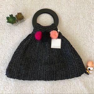 New Shiraleah Rio Ring Handle Black Straw Tote Bag